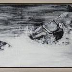 """Wildwasserrafting"", Acryl und Grafit, 18cm x  40 cm, gerahmt, 2013"