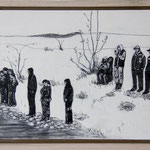 """""""Abwarten"""", Acryl und Grafit, 20 cm x 30 cm, gerahmt, 2013"""