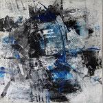 """Areal 8""Kohle, Acryl, Japanpapier auf Bw, 40 cm x 40 cm"