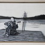 """""""Lieder am Abend"""", Acryl und Grafit, 20 cm x 30 cm, gerahmt, 2013"""