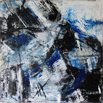"""Areal 7""Kohle, Acryl, Japanpapier auf Bw, 40 cm x 40 cm"