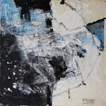 """Areal 6""Kohle, Acryl, Japanpapier auf Bw, 40 cm x 40 cm"