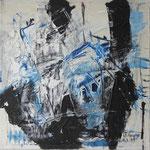 """Areal 1""Kohle, Acryl, Japanpapier auf Bw, 40 cm x 40 cm"