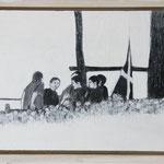 """""""Treffpunkt"""", Acryl und Grafit, 20 cm x 30 cm, gerahmt, 2013"""