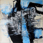 """Areal 2""Kohle, Acryl, Japanpapier auf Bw, 40 cm x 40 cm"