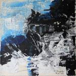"""Areal 3""Kohle, Acryl, Japanpapier auf Bw, 40 cm x 40 cm"