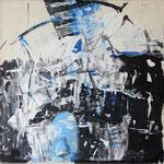 """Areal 4""Kohle, Acryl, Japanpapier auf Bw, 40 cm x 40 cm"