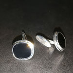 Manschettenknöpfe mit Onyx in Silber