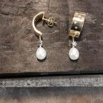 Ohrhänger Gold aus Kundenmaterial mit Brillanten und Perle