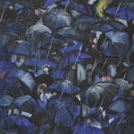 Crowd of people in the rain, oil on canvas, 48x80cm, 2019