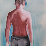 Swimmer boy, acrylic and water colour on paper, 50x35cm, 2020