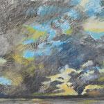 Sky study-2, oil pastel on paper, 25x44cm, 2021