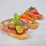 Canapées auf Baguette
