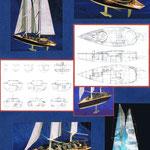 Etude, conception et maquette : voilier de 30m. Plans et maquette Hervé Arnoul pour IMS.