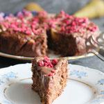 Leckerer Schoko Haferflocken Kuchen mit Birnen.
