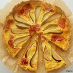 Tarte au fromage de chévre fraise mit Birnen und Speckschinken