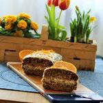 Karottenkuchen mit Olivenöl und Orange.