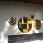 "Miroirs""Bulles"" Iroko diam 100,70,55,28 cm collaboration design Pascale Savey"