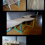 Tables basses 2 acier laqué frêne