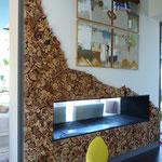 """Habillage mural """"empilement"""" long ,20m hauteur 2,80m essences diverses Collaboration Design Pascale Savey"""
