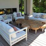 """Table basse""""Tranche"""" long 2,80m larg 1,30 haut 0,40m chêne et pieds fonte d'alu Collaboration Design Pascale Savey"""