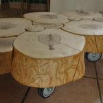 Table basse tronc frêne