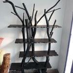 Arbre bibliothéque V eucalyptus et pin calciné Hauteur 2,30m