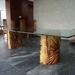 """Table """"Eclat"""" Long 2,80m x 1,20m hauteur 0,75 Iroko et verre"""