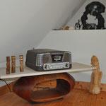 """Table basse Eucalyptus et pierre de""""comblenchien"""" (Bourgogne) 97,5 cm X 37,5 cm"""