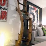 Arbre bibliothéque III Mimosa et acier Hauteur 2,40 m larg 80 cm