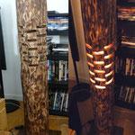Luminaire d'ambiance pin calciné hauteur 1m diam 15cm