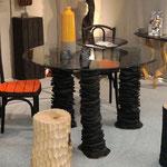Table empilement Douglas calciné et verre