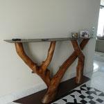 Console Tronc Eucalyptus Hauteur 1 m larg 40 cm Longueur 2m