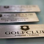 Edelstahl Lasergravur für den Golfclub Zillertal