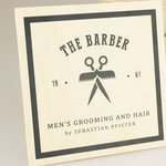 Logoprint auf Holz - THE BARBER