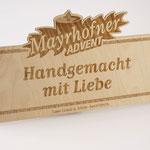Holzschilder mit Lasergravur - Adventmarkt Mayrhofen im Zillertal