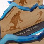 FIS Telemark Worldcup Pokale - Materialmix aus Holz, Plexi und Schiefer, mit dem Laser veredelt