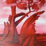 Karola Fels, Künstlerin, Malkurs, Köln, Lindenthal - Starke Natur in Rot - Acryl - Privatbesitz Köln