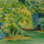 Karola Fels, Künstlerin, Malkurs, Köln, Lindenthal - Gartenansicht - Pastellkreide auf Leinwand