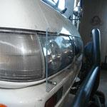 Eine Alte umgebaute Plexiglasscheibe ist nun unser Scheinwerferschutz...