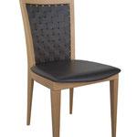 sedia fusto legno  Spalliera cuoio intrecciato, sedile massiccio. Con maggiorazione di 10,00 €, disponibile anche con sedile in vero cuoio o con cuscino imbottito aggiuntivo. (WOVEN LEATHER BACK, WOOD SEAT. WITH AN INCREASE OF 10,00 € ALSO AVAILABLE WITH