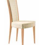 sedia fusto legno  Spalliera imbottita, sedile imbottito. (UPHOLSTERED BACK AND SEAT)