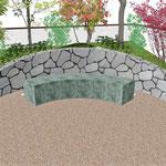 自然石石積みと自然石ベンチ