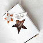 Eine ganz wunderschöne Verpackung für den Milka Wunschstern von Tanja Claassen - http://tanjaspapierdesign.blogspot.de/