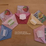 Kleine Geschenke für meine Sammelbesteller... ;-) Ein Origami-Täschchen mit einer Sommer-Gesichtsmaske