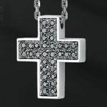 Collana argento croce zirconi neri