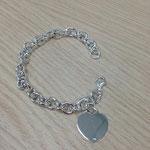 Bracciale argento con cuore piatto charms