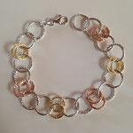 Bracciale in argento 3 colori maglia diamantata
