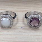Anello in argento con zirconi e pietre colorate
