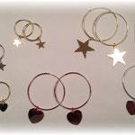 Orecchini in argento a cerchio con pendente
